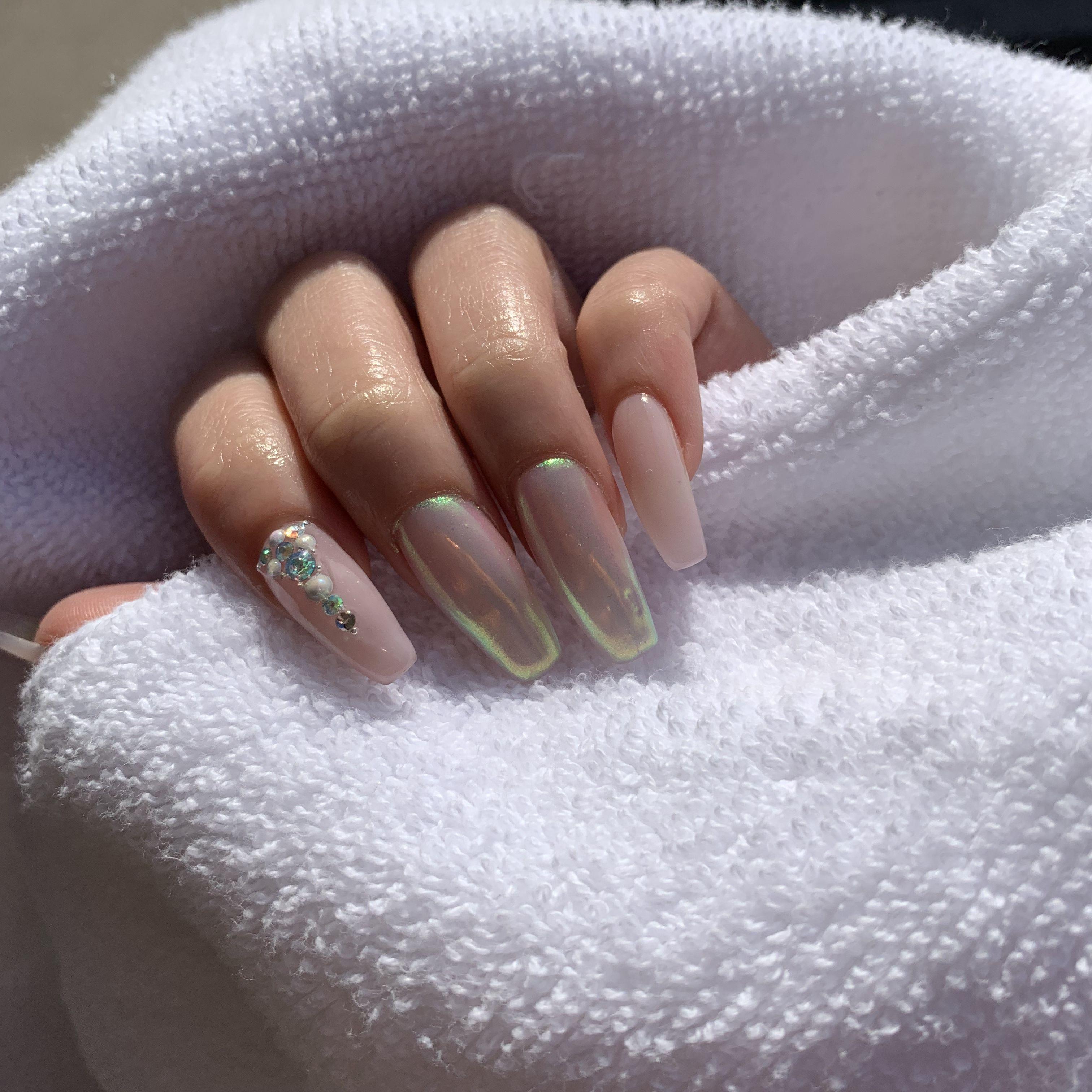 Natural Nails Nails Nails Design With Rhinestones Press On Nails
