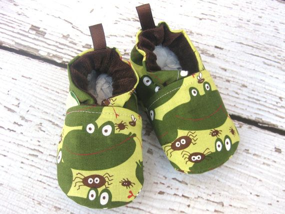 Frog Eat Bug All Fabric Soft Sole Baby Shoes by LittlePitterpat