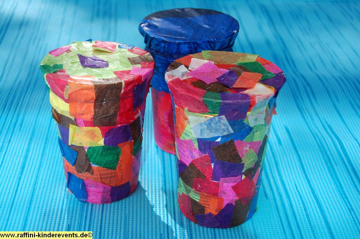 recycling basteln joghurtbecher trommel kindergarten pinterest basteln recycling basteln. Black Bedroom Furniture Sets. Home Design Ideas