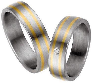 Trauringe Alsleben  Titan- und Gelbgoldringe, ( Gold in 585)  Damenring mit 1 Diamanten, 0,02 kt, Farbe: w, Reinheit: p1,   Ringbreite: 6,0 mm,   Ringhöhe: 2,0 mm,  Oberfläche: längs gebürstet
