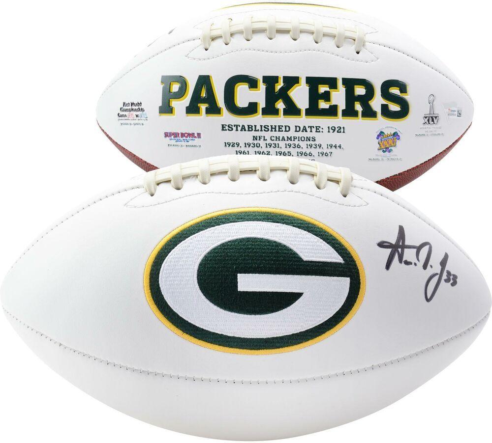 Aaron Jones Green Bay Packers Autographed White Panel Football Football Green Bay Packers Green Bay Packers Football