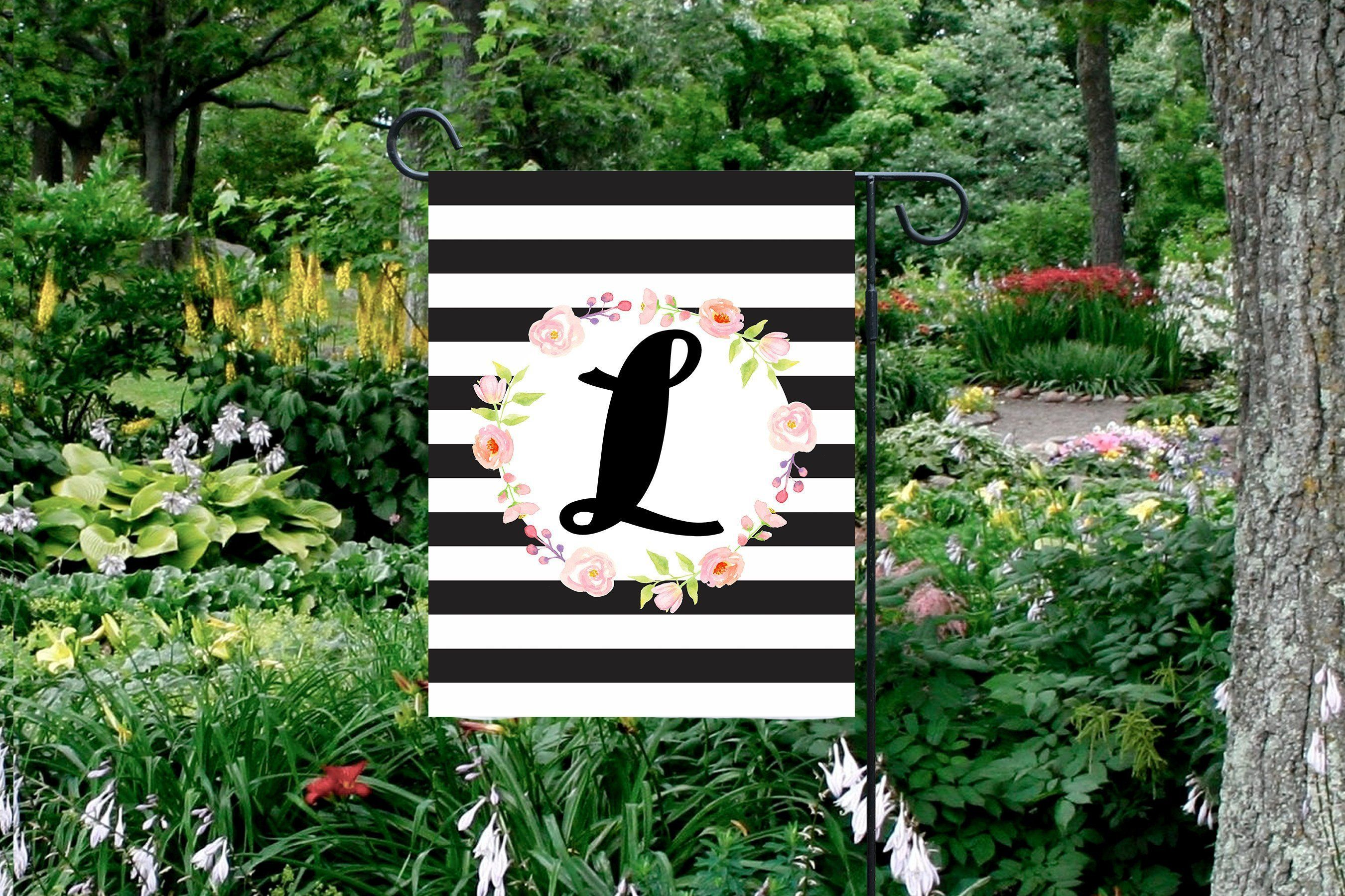 Monogrammed Garden Flag Floral Striped Garden Flag