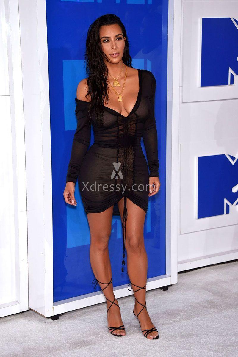 Kim kardashian in a sexy illusion black short bodycon prom dress at