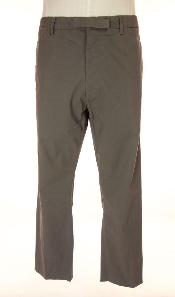 HELMUT LANG Mens Pants Size 34 M Khaki Green Casual Crunchy Poplin #HELMUTLANG #CasualPants