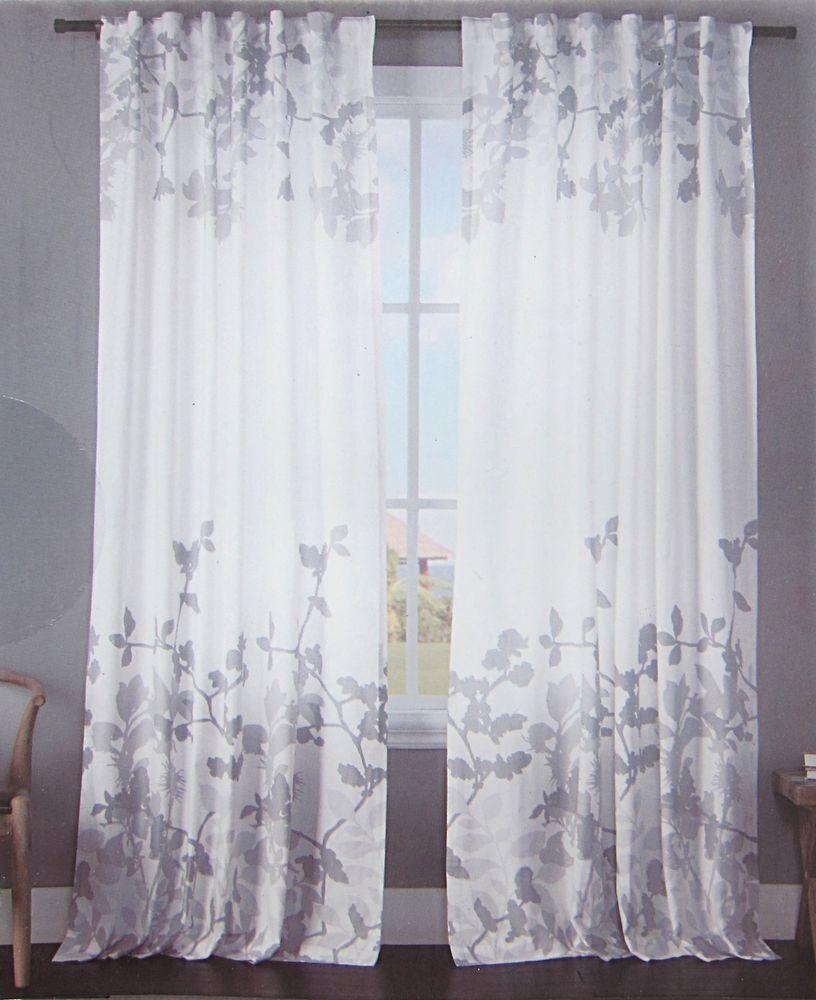 Envogue Gray Floral Border Window Curtains Pair Drapes