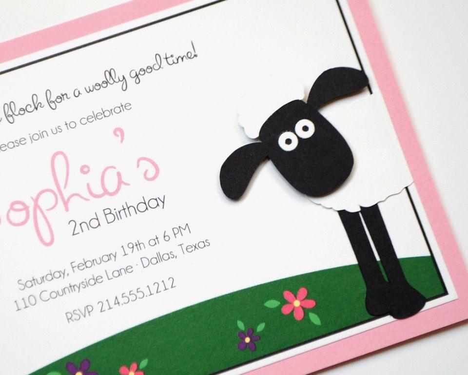 shaun the sheep handmade party invitation invitation pinterest