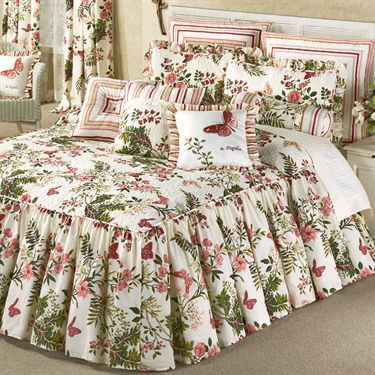 Butterfly Garden Floral Ruffled Flounce Bedspread Bedding