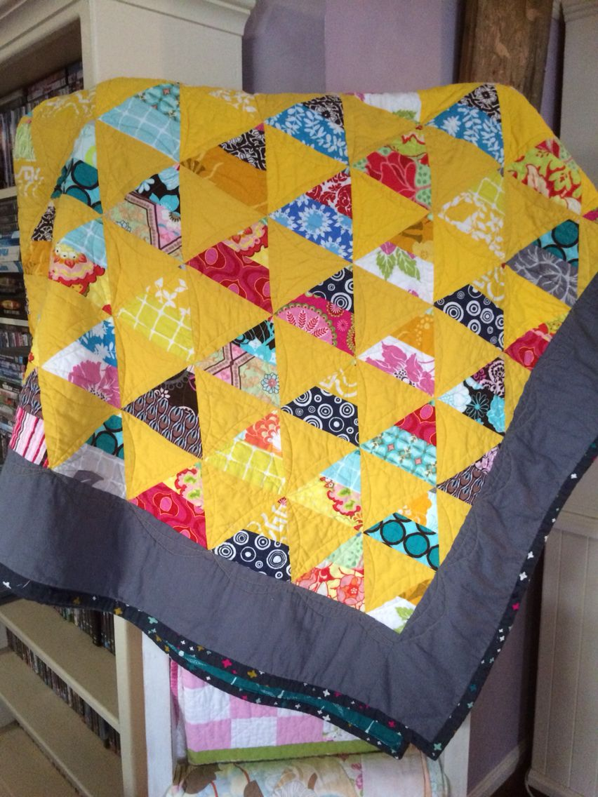 Bright yellow quilt. Made from leftovers from 2 other quilts. Y new favorite.