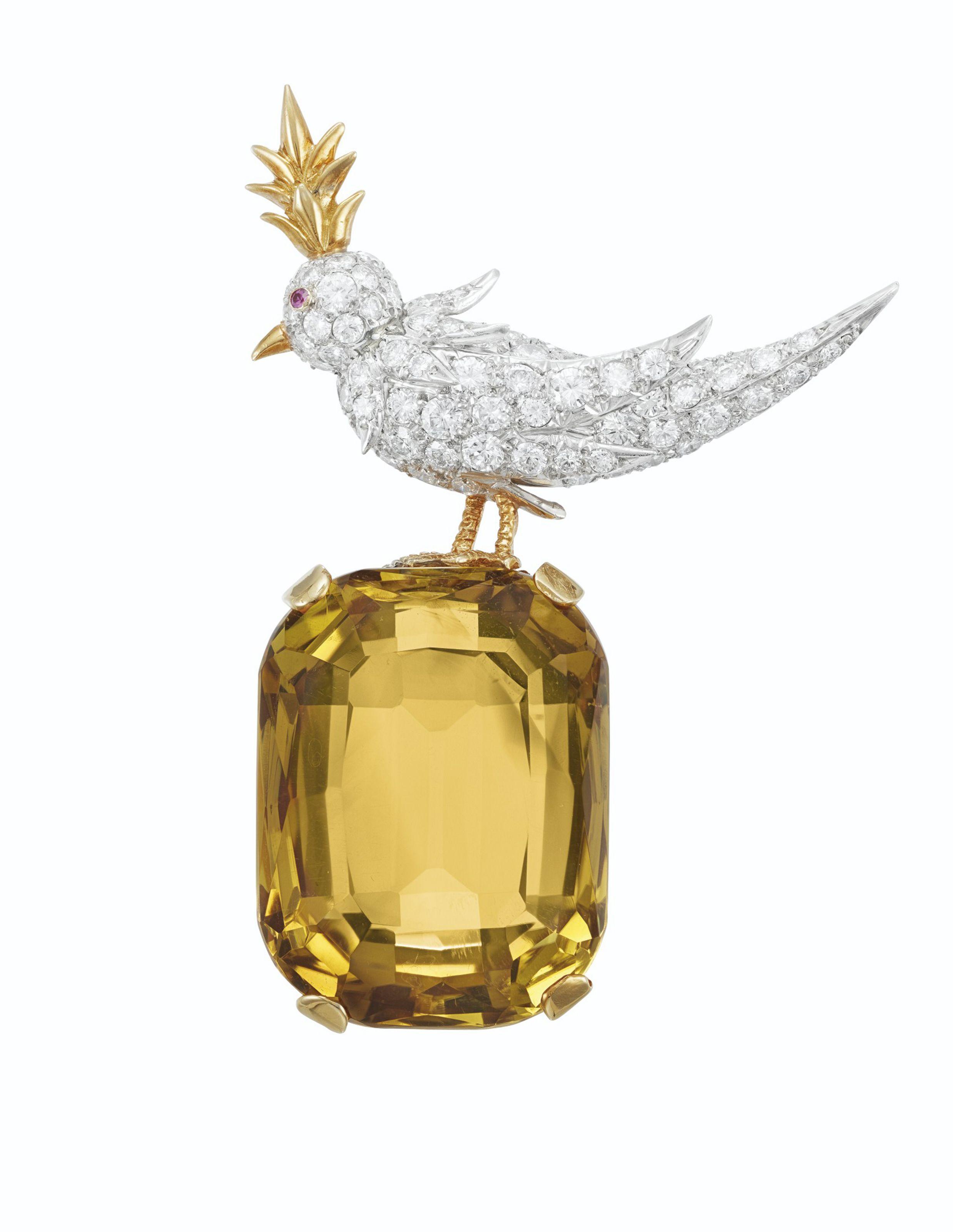 da89e6b84177b CITRINE, DIAMOND AND RUBY 'BIRD ON A ROCK' BROOCH, JEAN SCHLUMBERGER ...