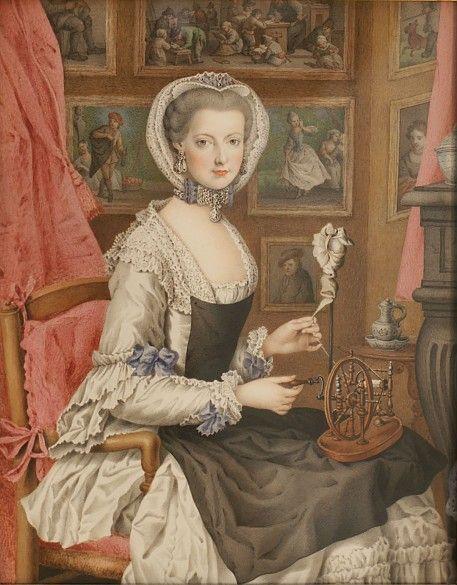 Erzherzogin Marie Christine am Spinnrad, Ölgemälde, Mitte des 18. Jahrhunderts                                                                                                                                                                                 Mehr