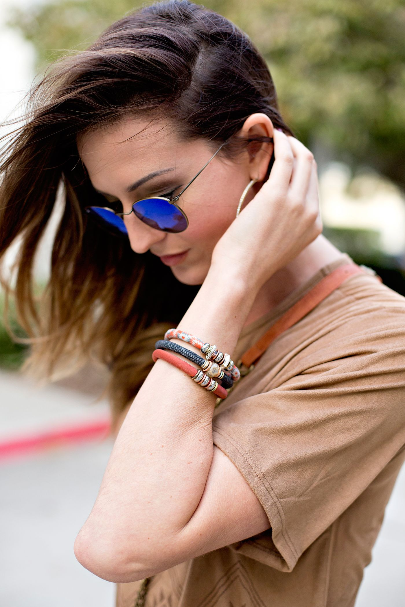 70s fashion mixing it up with Razimus Jewelry's sustainable fabric jewelry