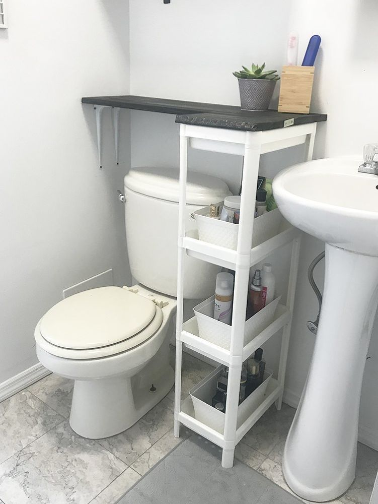 A Brilliant Solution For Small Bathrooms With No Counter Space Bathroomstorageideas Bathroomstoragesmall Sto Small Bathroom Diy Space Saving Bathroom Decor