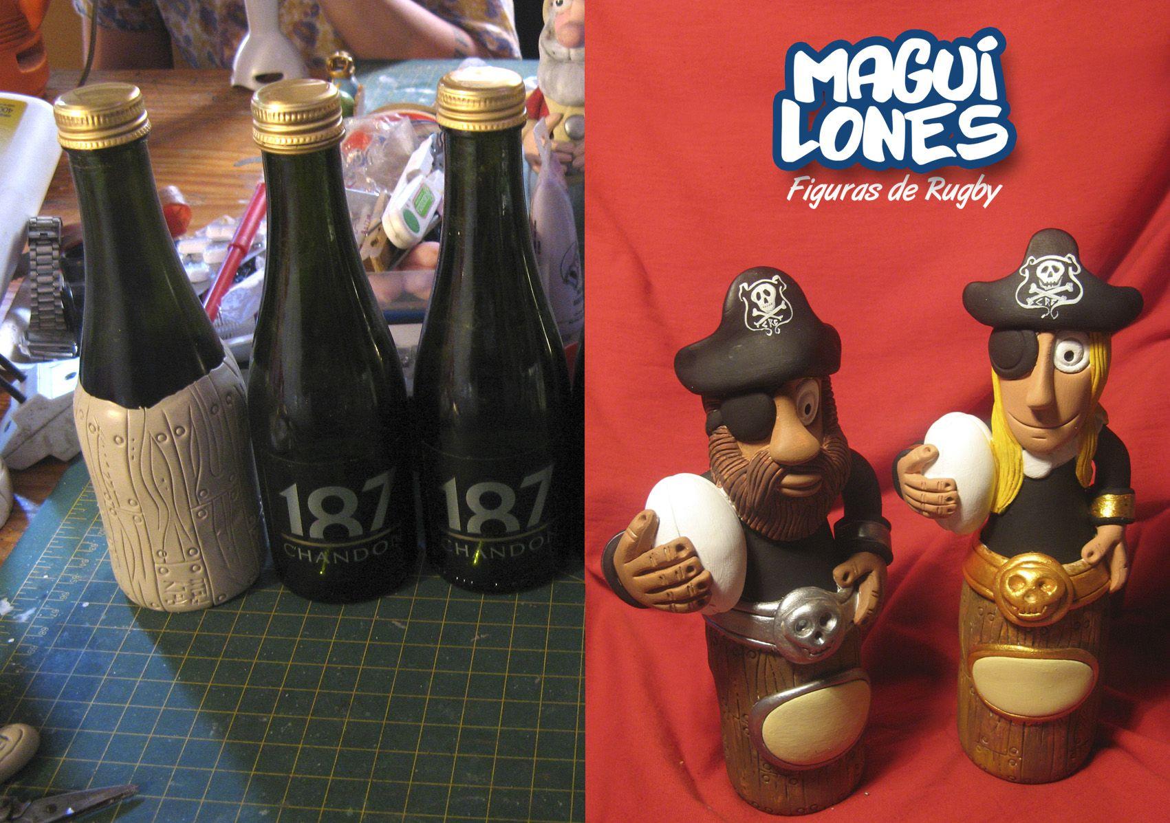 RUGBY_Figuras diseñadas con masilla epoxi y pintadas a mano Reciclado de botellas de vidrio