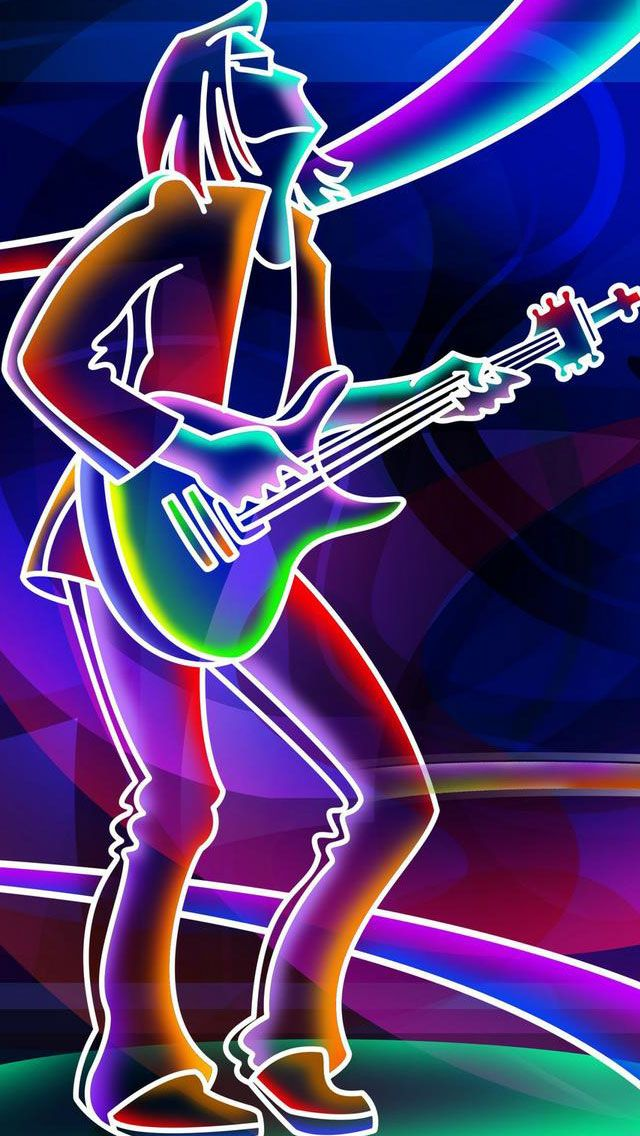 Neon Lights Glow Rock n Roll Guitar Player Music iPhone Wallpaper | Color - Glitter Sparkle Glow ...