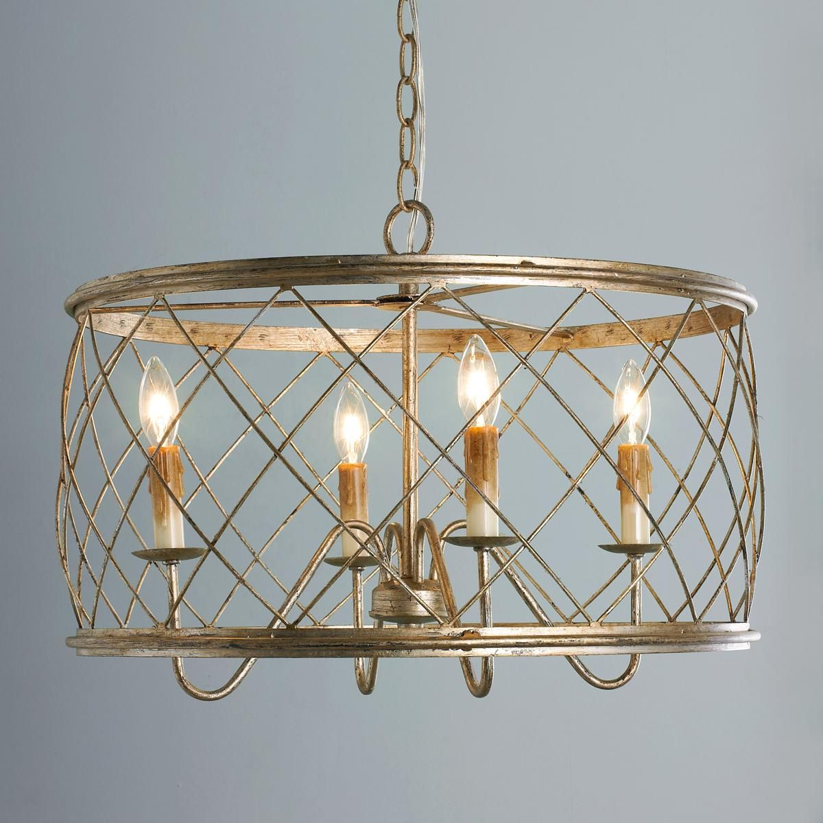 Trellis Cage Drum Chandelier - Small