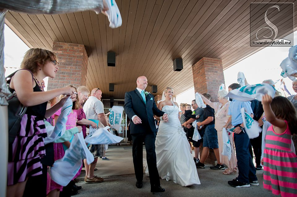 Rally Towels Instead Of Bubbles Wedding Photography Storytotellme