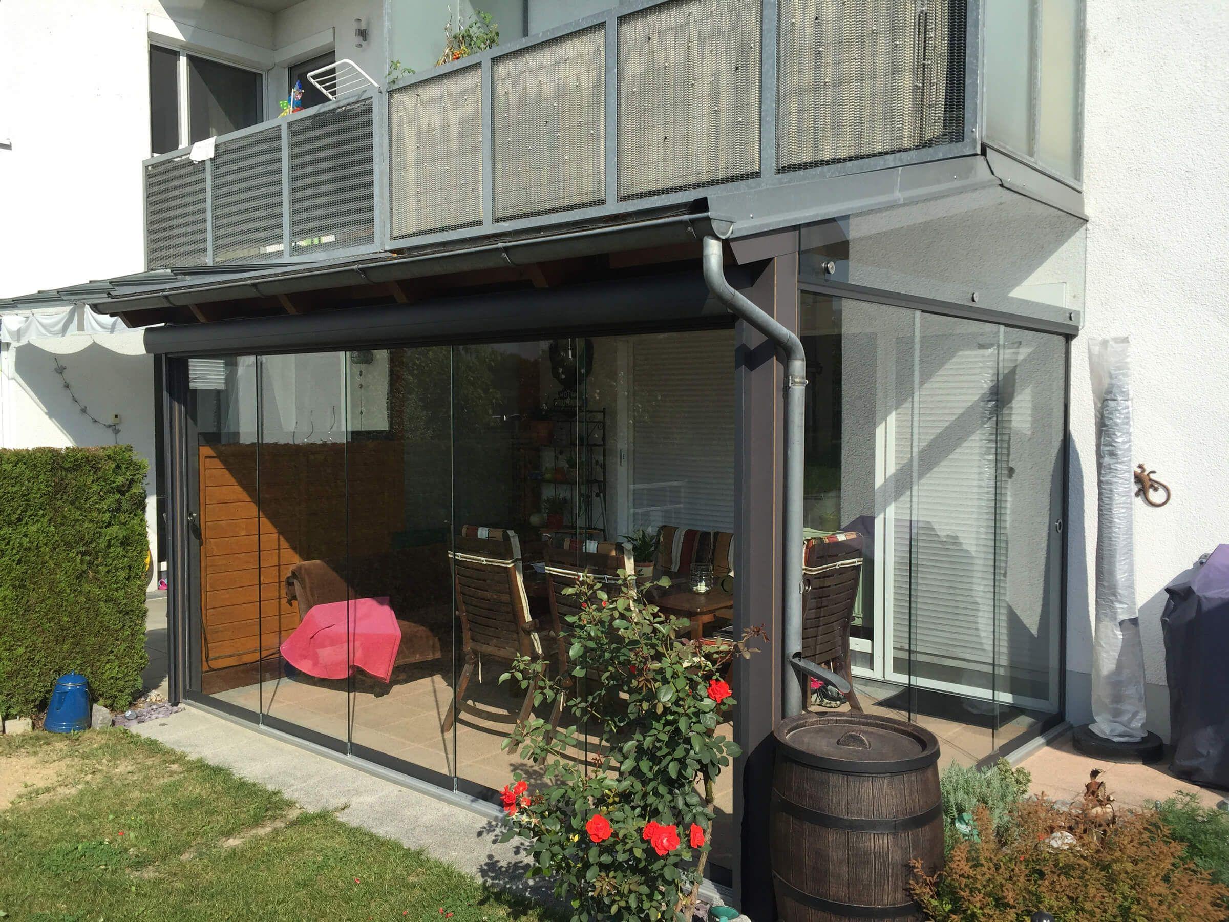 Wintergartenanbau Glas Anlehnwintergarten mit
