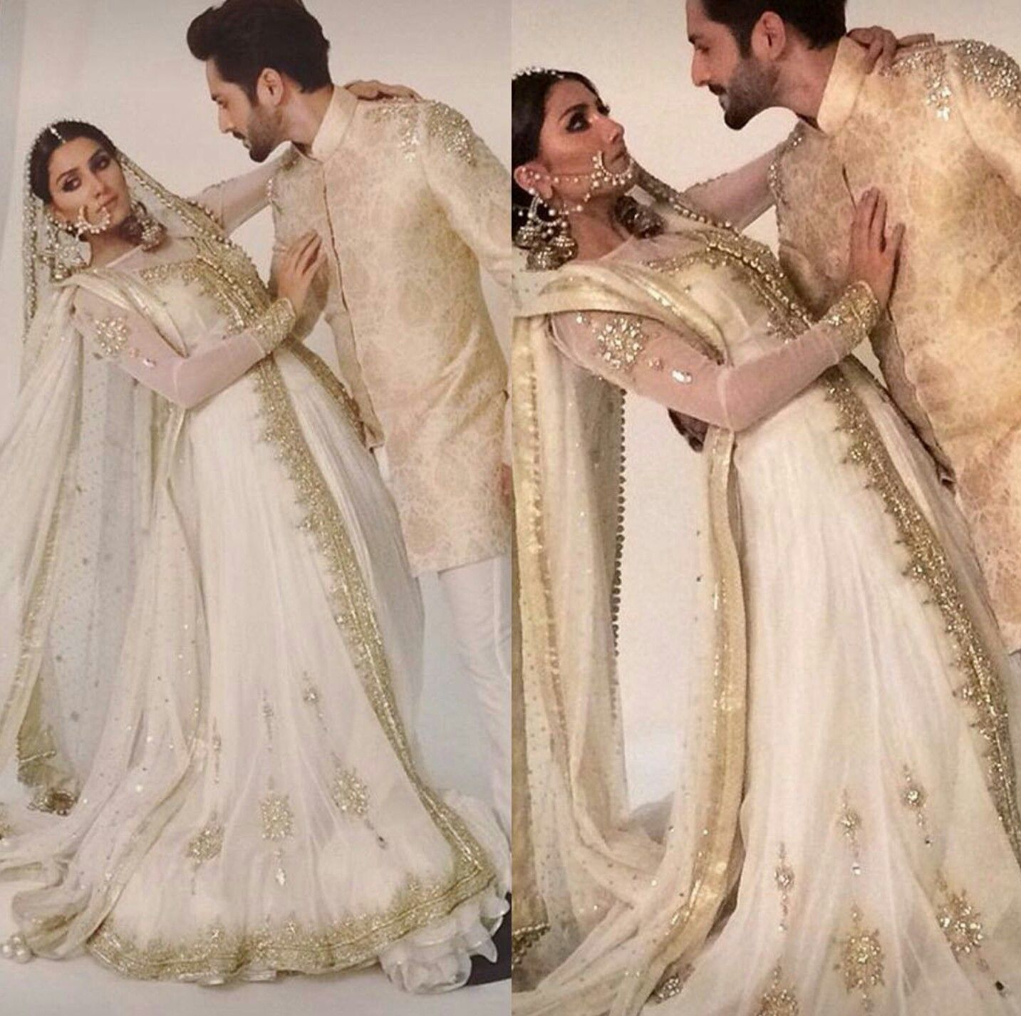 Wearing White To A Wedding.Ayesha Khan Wearing White And Gold Bridal For A Photoshoot