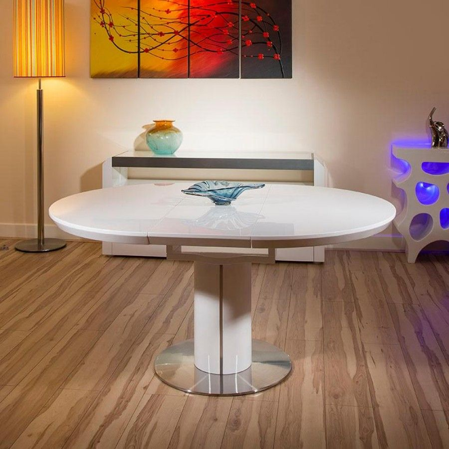 Modern Dining Table White Gloss Round / Oval Extending