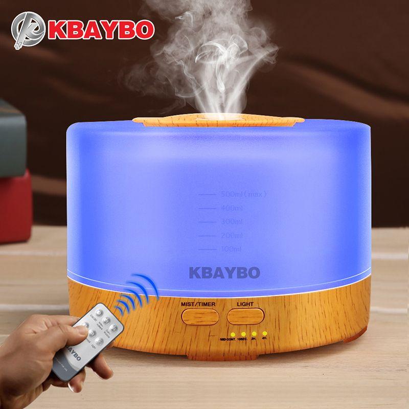 500 ml Luchtbevochtiger Afstandsbediening Aroma Essentiële Olie Diffuser met 4 Timer Instellingen 7 Kleur Veranderende LED lamp