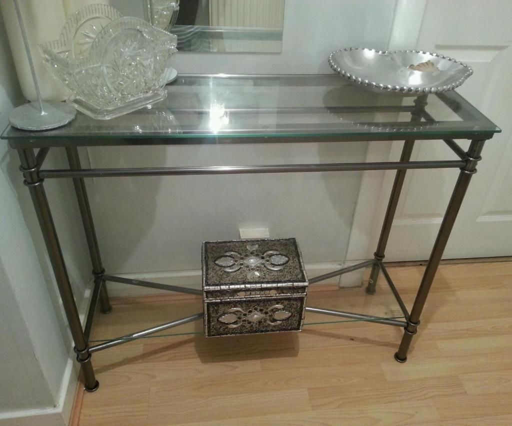 Furniture Rectangle Corner Console Table With Glass Top