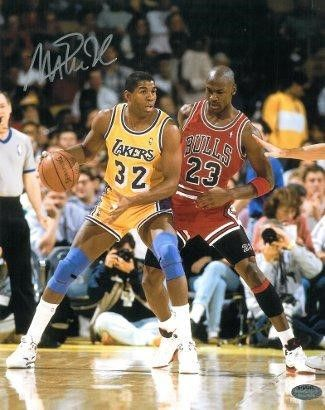 8ae5ba204947 Magic Johnson signed Los Angeles Lakers 16x20 Photo vs Michael Jordan