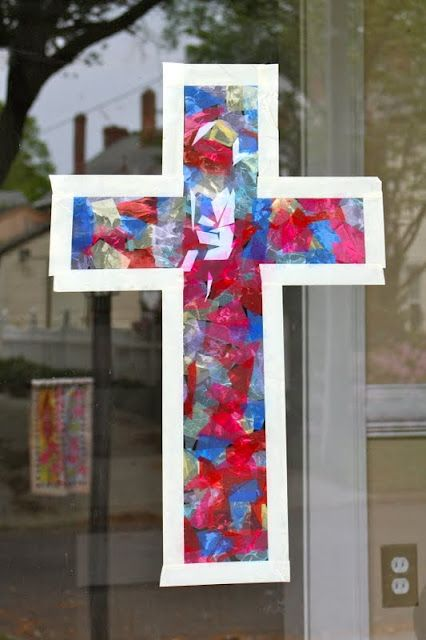 Kids Easter Cross Project But Not Glued Onto Window Maybe