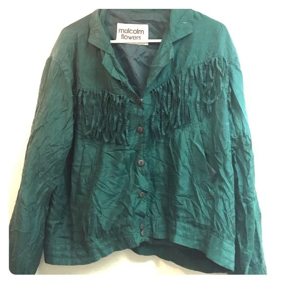Bomber jacket Marsh green silk bomber jacket Malcolm Flowers  Tops Button Down Shirts