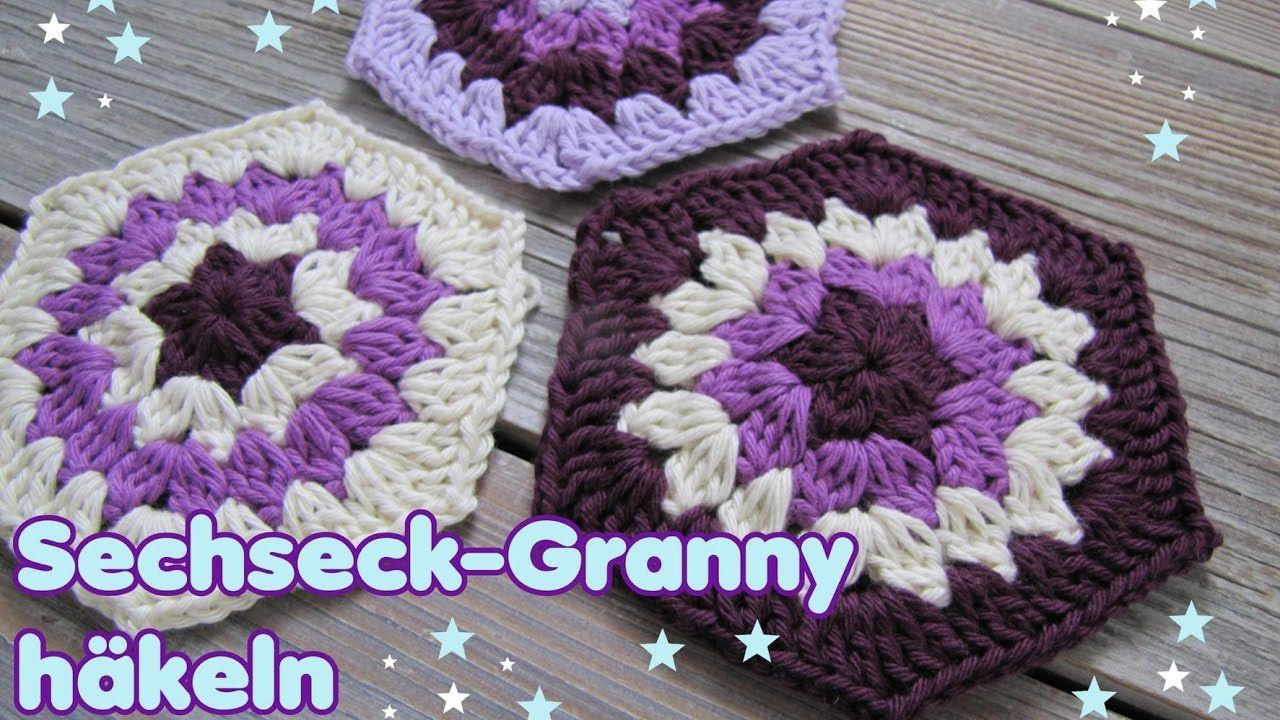 Hexagon / Sechseck Granny häkeln - YouTube | Pinterest | Sechseck ...