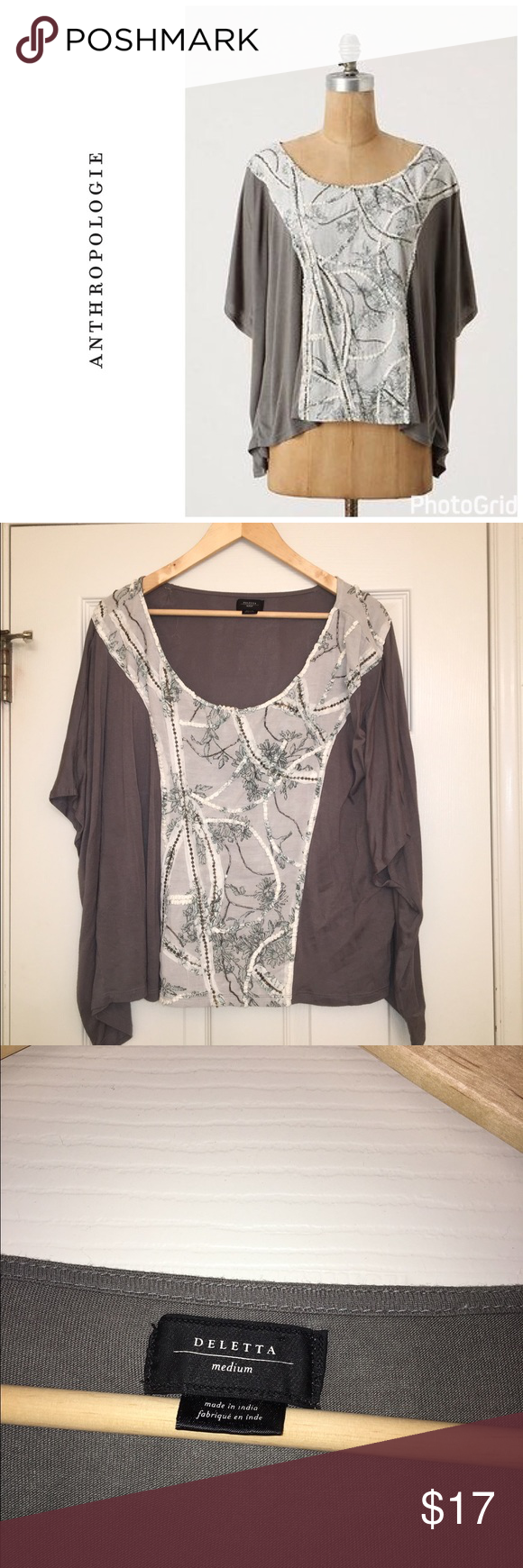 Anthropologie Stitched Mantle top Size m and is a relaxed fit so will fit a variety of sizes . I would recommend a 6-10 wear this . Flowy top. Embroidered front panel . In like new condition . By Deletta . Anthropologie Tops