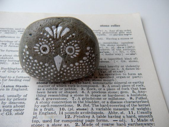large owl - hand painted stone. $12.00, via Etsy.  These would look great scattered in secret spots in the garden.  Love the look of white painting on gray rock.  Should try something like that on my cement penguin.
