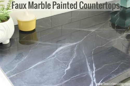 Tutorial On Faux Marble Painted Countertops Faux Marble Faux Marble Countertop Marble Countertops