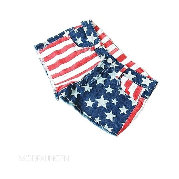 Denim shorts - USA ❤ liked on Polyvore