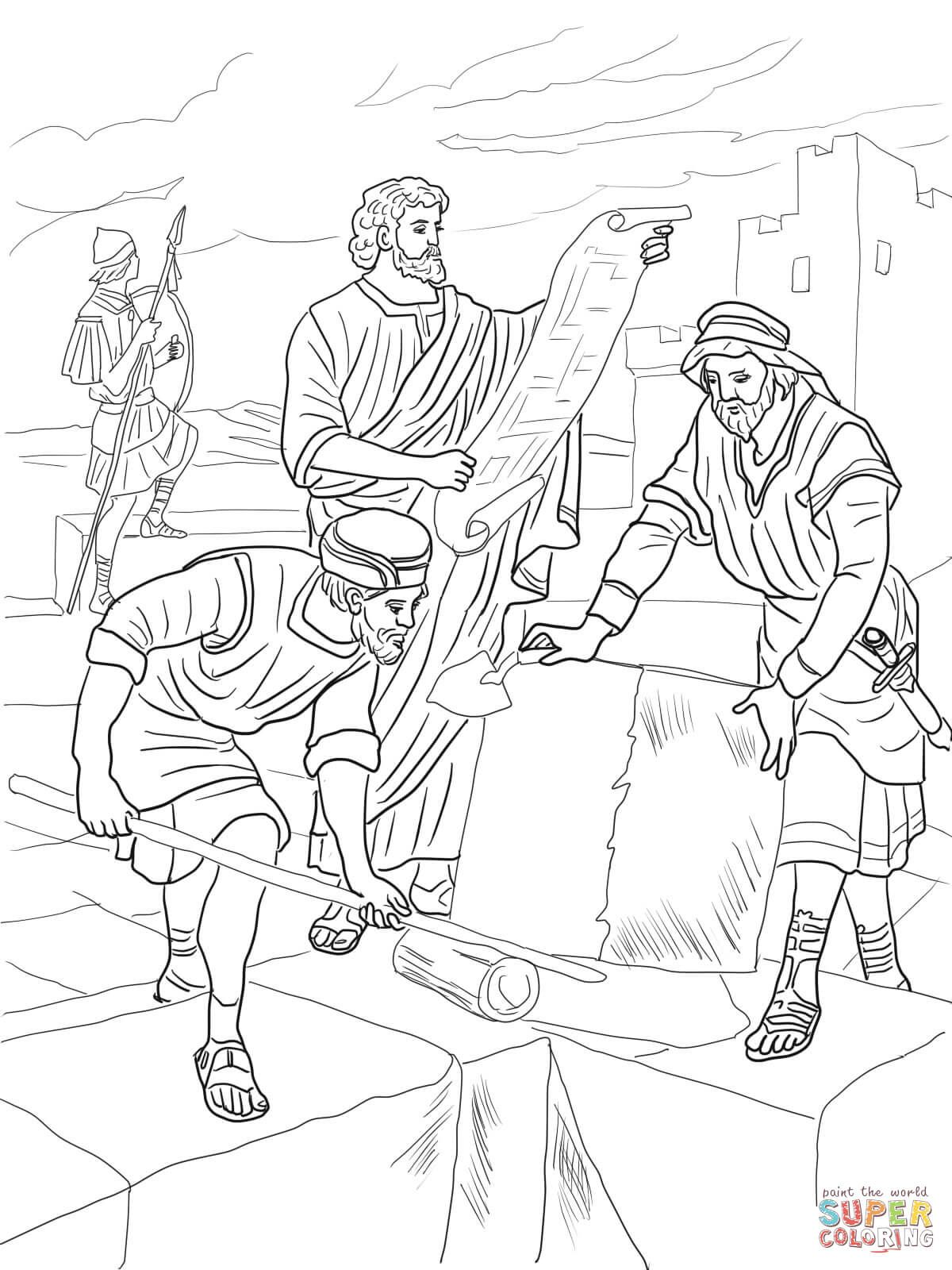 Coloring Pages For Nehemiah : Nehemiah rebuilding the walls of jerusalem coloring page
