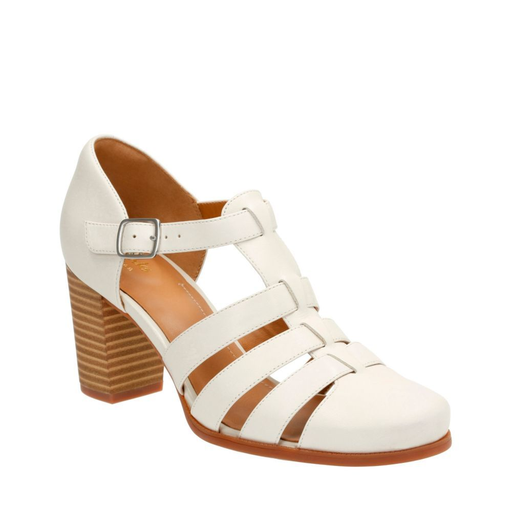 Womens Shoes Clarks Ciera Gull Off-White Leather