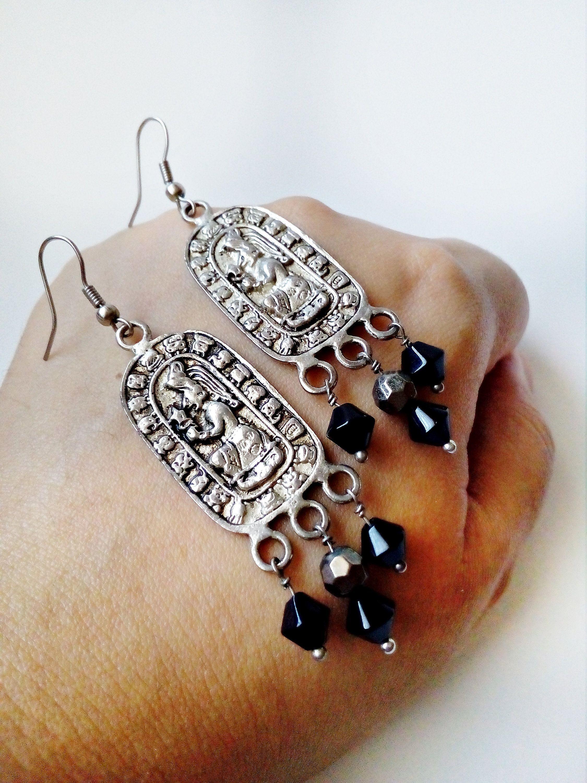 Taxco Mexican Earring Engraved Boho fashion Mayan Aztec Earrings Mother gift Mayan Jewelry Guatemalan Earrings Tribal Silver Earrings