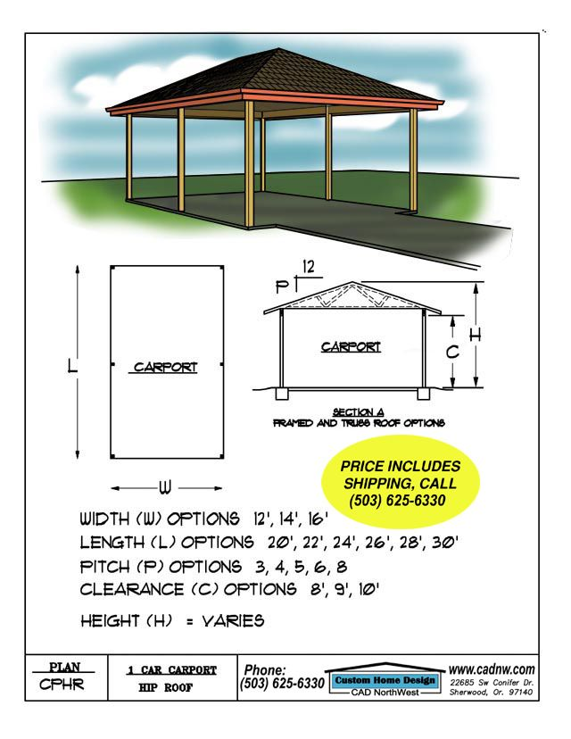 One Car Hip Roof Carport Plan Cphr Carport Plans Hip Roof Carport Designs