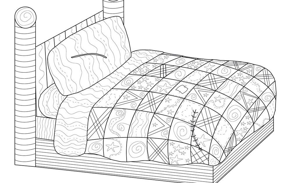 Bed With A Patchwork Quilt Coloring Book Vector Image Coloring Pages Quilt Quilt Patterns Free Printabl Book Quilt Geometric Quilt Patchwork Quilt Patterns