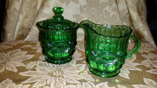 VINTAGE GREEN Pressed Glass or Depression Glass Sugar Bowl with a Lid and a Creamer Adorable!!! by NookHook on Etsy