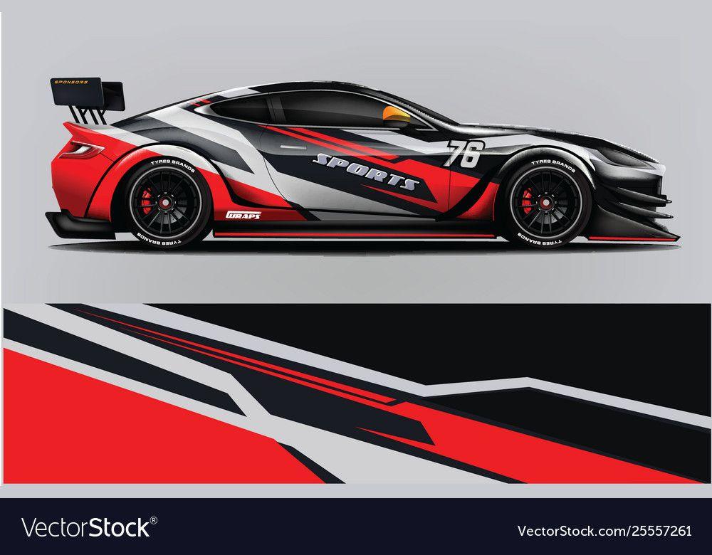 Sport Car Racing Wrap Design Design Royalty Free Vector Sponsored Racing Wrap Sport Car Ad Car Wrap Design Car Wrap Car Graphics