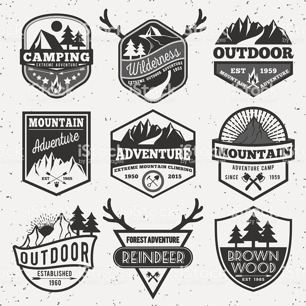 Set of monochrome outdoor camping adventure and mountain badge logo,    is part of Badge logo - Download this Set Of Monochrome Outdoor Camping Adventure And Mountain Badge Logo vector illustration now  And search more of iStock's library of royaltyfree vector art that features 2015 graphics available for quick and easy download