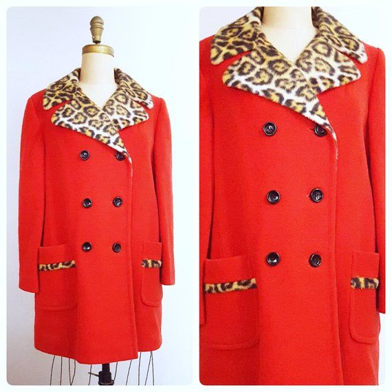 1877a5e5bb47 The | 1960s doubled breasted red wool winter coat | 60s leopard print  trimmed coat | size large