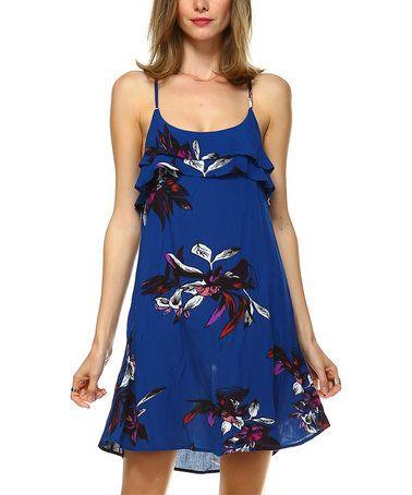 Love this Blue Floral Ruffle-Accent Crisscross-Back Sleeveless Dress on #zulily! #zulilyfinds