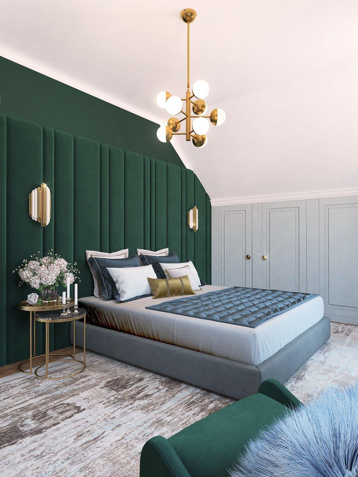 Спальня арт-деко. Зеленый цвет в интерьере в 2019 г ...