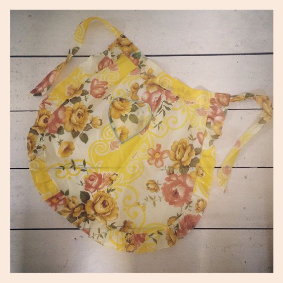 Retro 1960s Apron  yellow snd brown flowered by CurlyTink on Etsy
