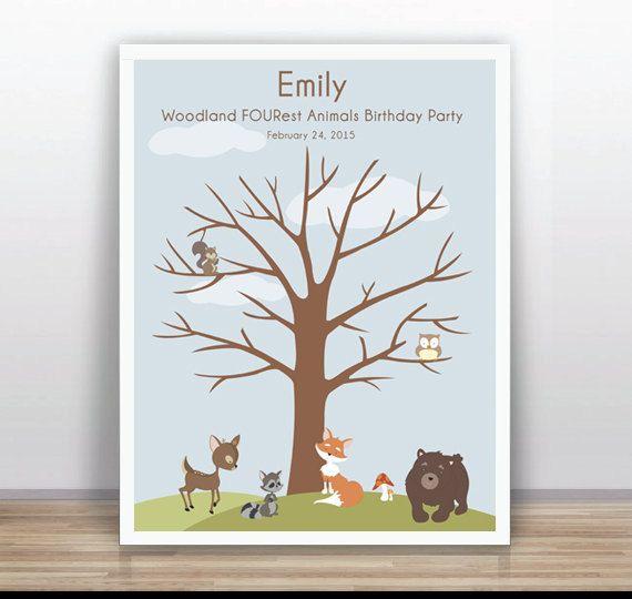 Woodland animals Printable Thumbprint Tree Guest Book ...