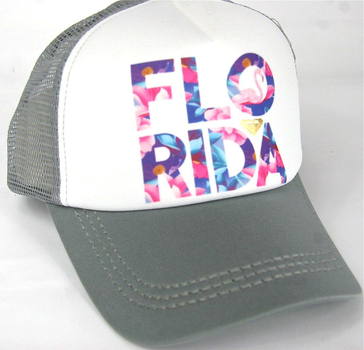 09032e3c4c53aa Roxy Snapback Trucker Cap Flo Rida Florida Roxy Beach Surf Gray White Roxy  Hat