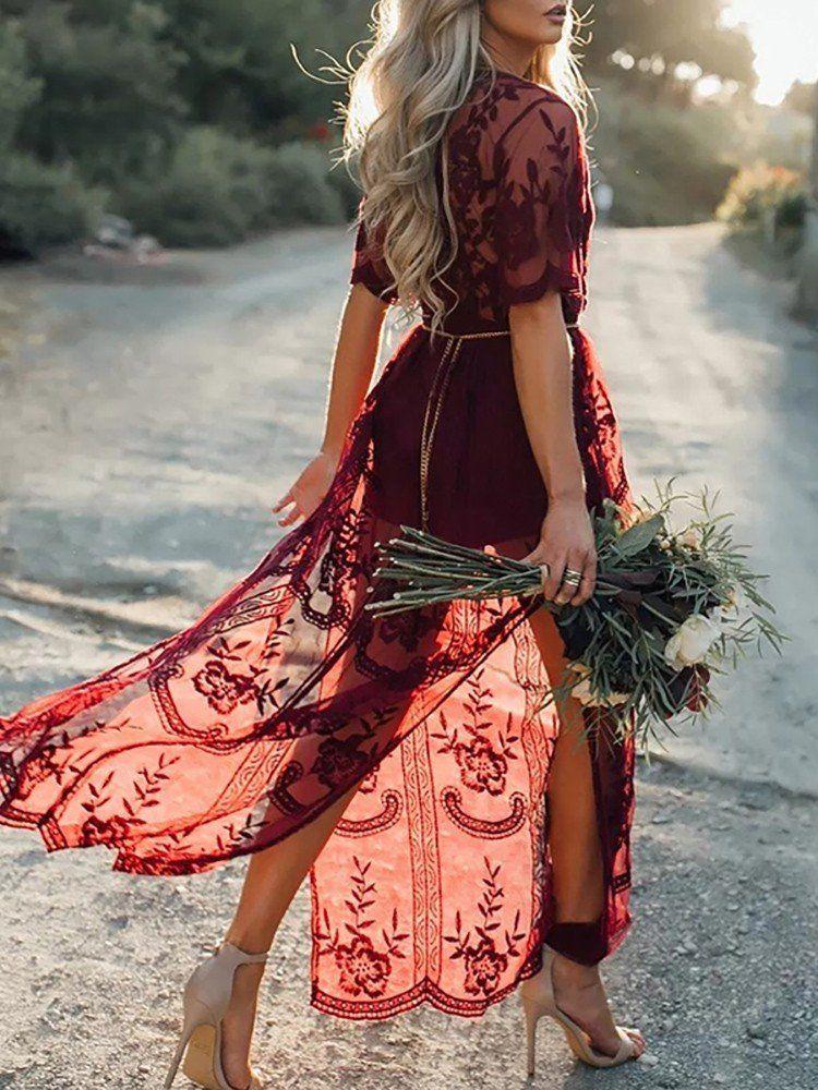 194cec16a4e Stylish Lace Applique Maxi Romper Dress