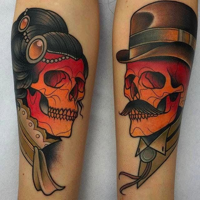 Image result for neo traditional tattoo skull #Paracreer