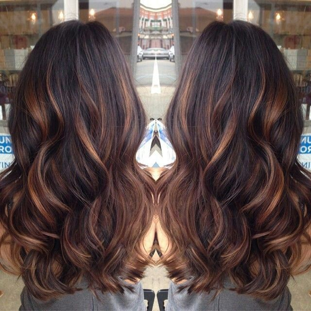 Chocolate brown with caramel highlights red highlights golden caramel balayage on her dark brown hair i want to try the balayage method of hair color pmusecretfo Images